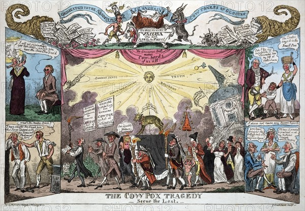 The Cow Pox Tragedy -Scene the Last', 1812, by George Cruikshank