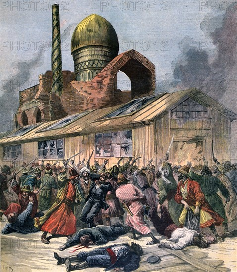 Cholera in Russia: Mob in Astrakan  lynching doctors outside a hospital.  From 'Le Petit Journal', Paris, 6 August 1892. Medicine, Epidemic, Crowd,  Panic, Hysteria