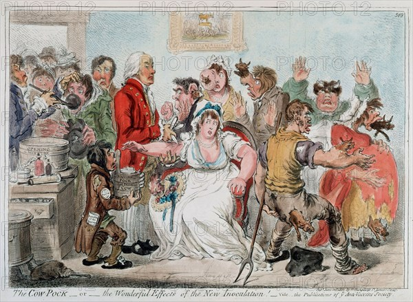 Gilray cartoon on vaccination against Smallpox using Cowpox serum, 1802