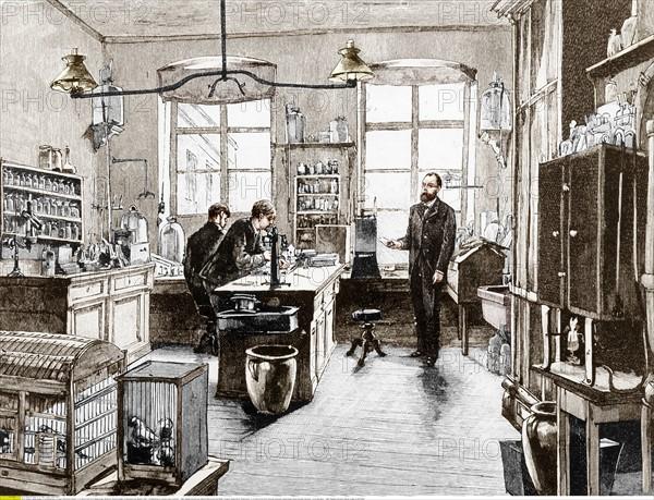 Koch, Robert - Bakteriololge, D/ mit Mitarbeitern im Labor, Stich