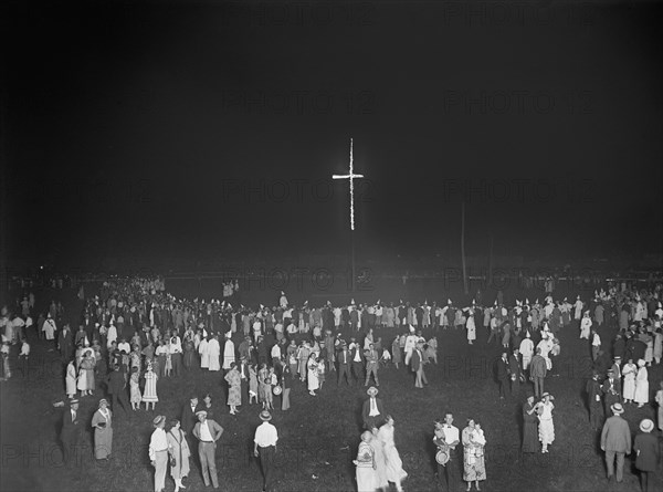 Burning 80-foot Cross at Ku Klux Klan Demonstration, Washington DC, USA, National Photo Company, August 1925
