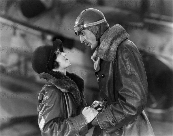 """Fay Wray, Gary Cooper, on-set of the Silent Film """"The Legion of the Condemned"""", 1928"""