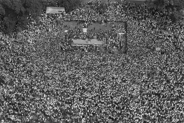 High Angle View of Crowd of Protesters at March on Washington for Jobs and Freedom, Washington