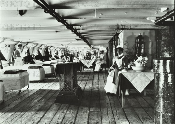 A copy of a photograph of the ward deck of the Atlas Smallpox Hospital Ship, c1890-c1899. Artist: Unknown.