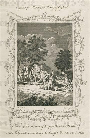 Burying plague victims, Holywell Mount, Shoreditch, London, 1665 (c late 18th century)