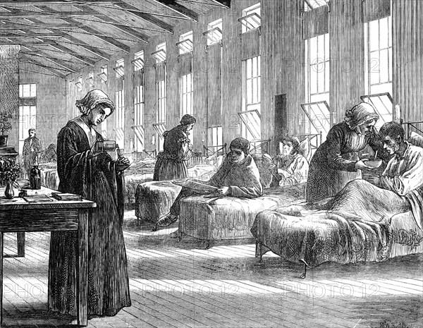 Ward in the Hampstead Smallpox Hospital, 1871. Artist: Unknown
