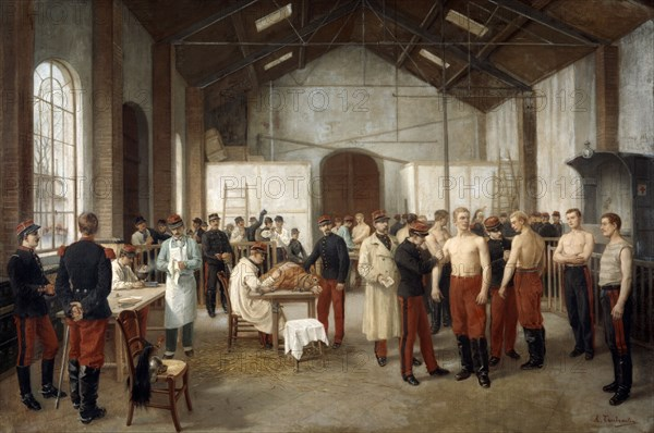 'Vaccination at the Val de Grace Hospital in Paris', c1900.  Artist: Alfred Touchemolin