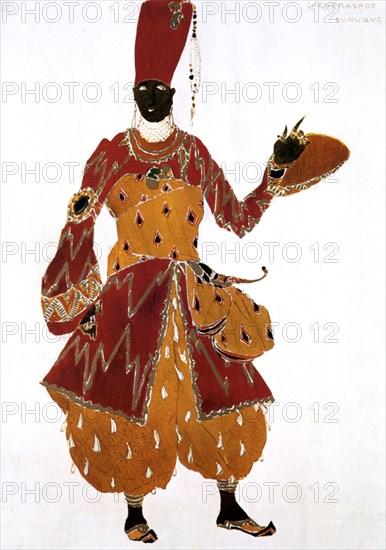 Eunuch costume design for the ballet Scheherazade, 1910. Artist: Leon Bakst