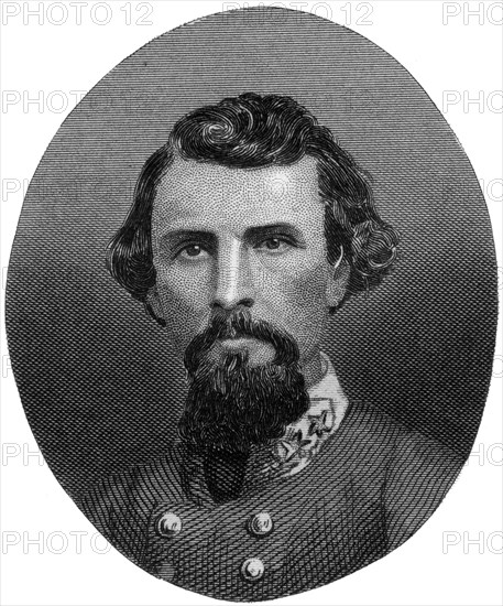 Nathan Bedford Forrest, Confederate general, 1862-1867.Artist: J Rogers