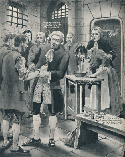 'Giving Prisoners the Smallpox in Gaol', late 18th century, (c1934). Artist: Unknown.