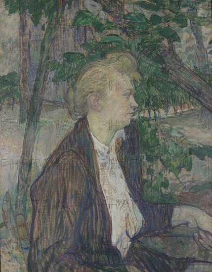 Woman seated in a Garden, 1891. Artist: Toulouse-Lautrec, Henri, de (1864-1901)