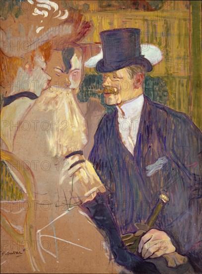 The Englishman (William Tom Warrener, 1861-1934) at the Moulin Rouge, 1892. Creator: Henri de Toulouse-Lautrec.