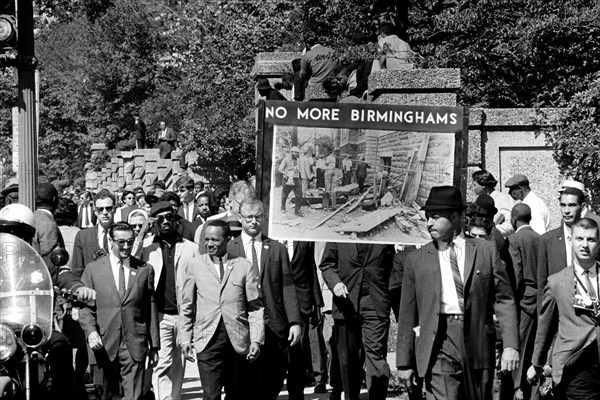 Congress of Racial Equality conducts march in memory of Negro youngsters killed in Birmingham bombings, All Souls Church, 16th Street, Washington, D.C. September 23, 1963 Photograph by Thomas J. O'Halloran.. Image shot 1963. Exact date unknown.