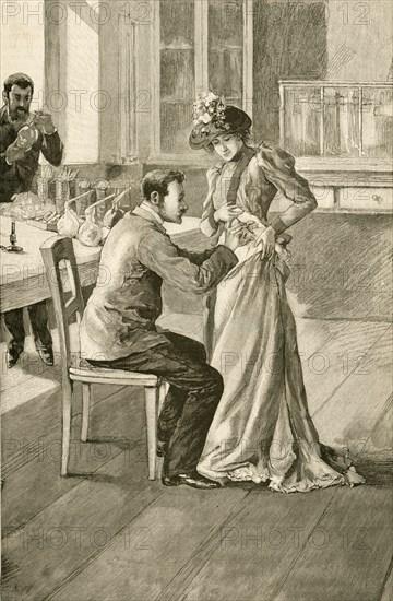 Waldemar Haffkine (1860-1930) Russian bacteriologist , vaccinating a woman against Cholera