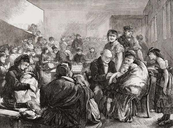 The District Vaccinator, after an 1871 woodcut by E. Buckman .  A doctor inoculates a crying child being held by its mother in a dispensary in London's East End.  In the United Kingdom the Vaccination Act of 1840 provided for free vaccinations for the poor.