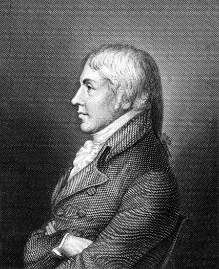 Edward Jenner  (1749-1823) on engraving from 1859. The Father of Immunology. Pioneer of smallpox vaccine.