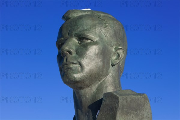 Bust of the world's first human in space Soviet cosmonaut Yuri Gagarin (1934-1968) at Cosmonauts Alley in Moscow, Russia