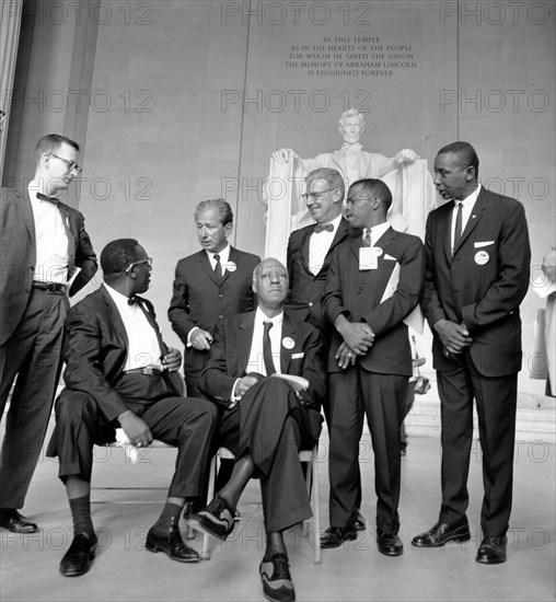 Civil Rights March on Washington, D.C.  Mathew Ahmann, Cleveland Robinson, Rabbi Joachim Prinz,  A. Philip Randolph, Joseph Rauh, Jr, John Lewis, Floyd McKissick