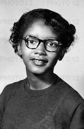 Claudette Colvin (b.1939). Portrait of the pioneer of the 1950s civil rights movement, taken in 1954.  On March 2, 1955, she was arrested at the age of 15 in Montgomery, Alabama, for refusing to give up her seat to a white woman on a crowded, segregated bus. This occurred nine months before the more widely known incident in which Rosa Parks, helped spark the 1955 Montgomery bus boycott.