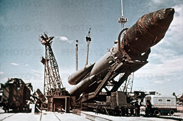 Vostok 1 rocket being prepared for launch, 1961, this is a still from a soviet film of the launch.